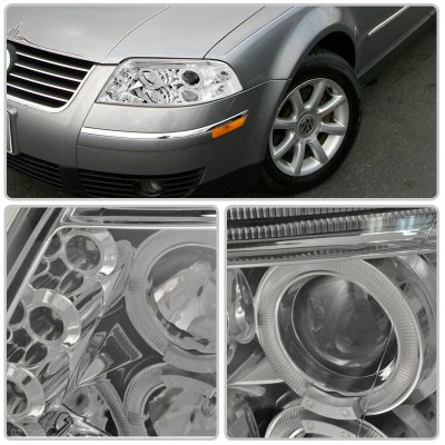 VW Passat 2001-2005 Clear Halo Projector Headlights with LED