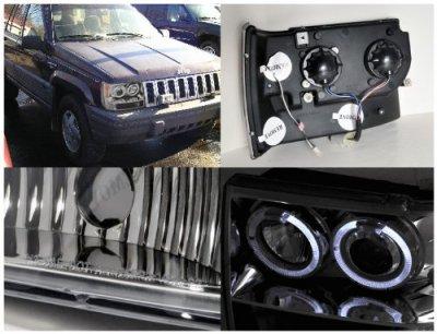 Jeep Grand Cherokee 1993 1998 Clear Dual Halo Projector Headlights