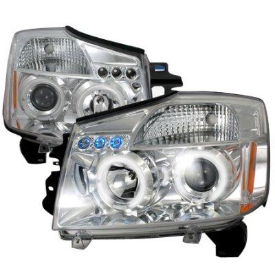 Nissan Armada 2004-2007 Clear Dual Halo Projector Headlights with LED
