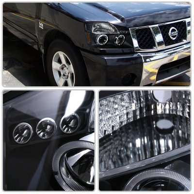 Nissan Armada 2004-2007 Black Dual Halo Projector Headlights with LED
