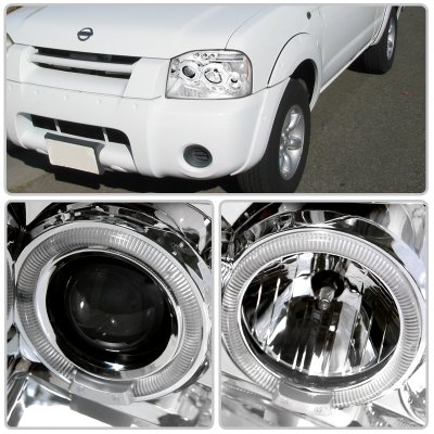 Nissan Frontier 2001-2004 Clear Dual Halo Projector Headlights with LED