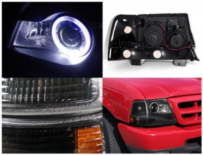 Ford Ranger 1998 2000 Black Halo Projector Headlights And Per Lights Set