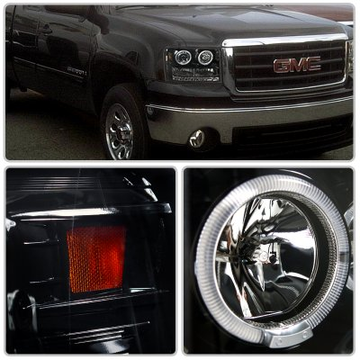 Gmc Sierra 2007 2017 Smoked Projector Headlights Halo Led Drl