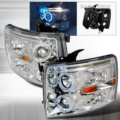 Chevy Silverado 2500HD 2007-2014 Clear Halo Projector Headlights with LED Eyebrow