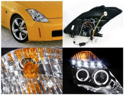 Nissan 350Z 2003-2005 Clear Halo Projector Headlights with LED