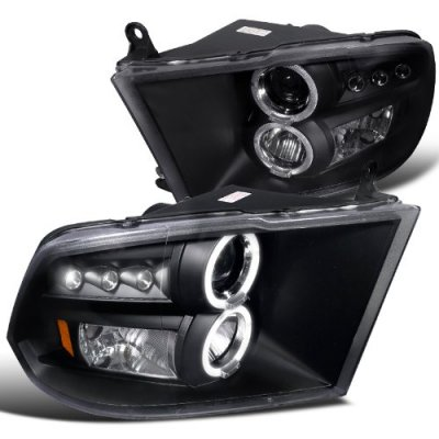 Dodge Ram 2009-2016 Black Dual Halo Projector Headlights with LED