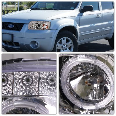 Ford Escape 2005 2007 Chrome Projector Headlights Halo Led Drl