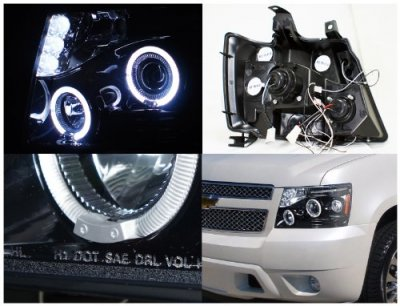 Used Chevy Tahoe >> Chevy Tahoe 2007-2014 Smoked Halo Projector Headlights LED Eyebrow | A122FJ27101 - TopGearAutosport