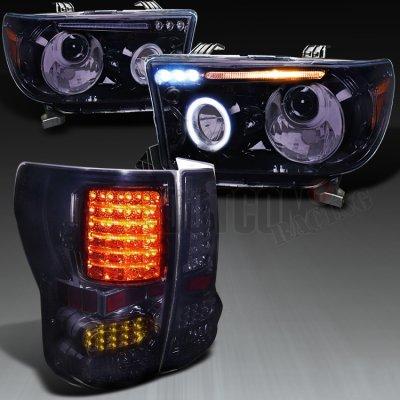 toyota tundra 2007 2013 smoked projector headlights and