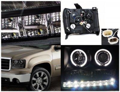 GMC Sierra 2007-2013 Black Projector Headlights Halo LED DRL
