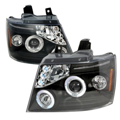 Chevy Tahoe 2007-2014 Black Halo Projector Headlights LED Eyebrow