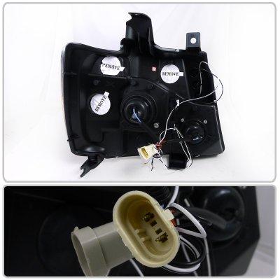 Chevy Avalanche 2007-2013 Black Halo Projector Headlights LED Eyebrow