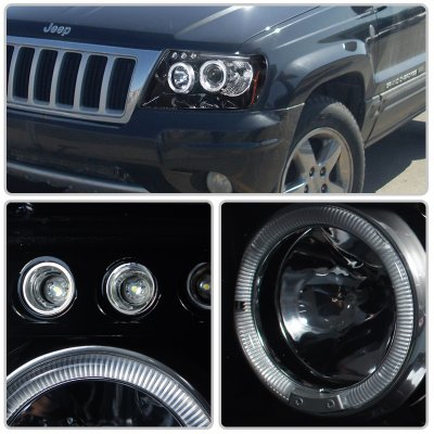 jeep grand cherokee 1999-2004 smoked halo projector headlights led