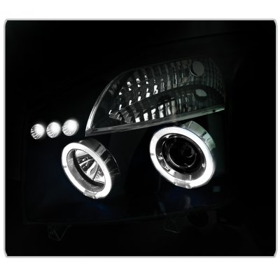 2014 Nissan Titan Black Dual Halo Projector Headlights with LED
