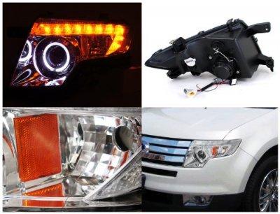 Ford Edge   Chrome Projector Headlights Halo Led Drl