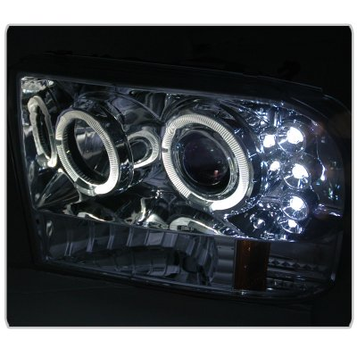 Ford F250 Super Duty 1999-2004 Clear Dual Halo Projector Headlights with LED