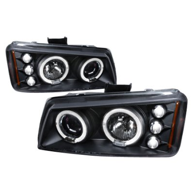 Chevy Avalanche 2003-2006 Black Halo Projector Headlights with LED