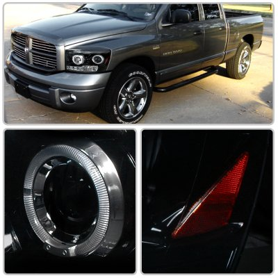 Dodge Ram 2006 2008 Smoked Halo Projector Headlights With Led
