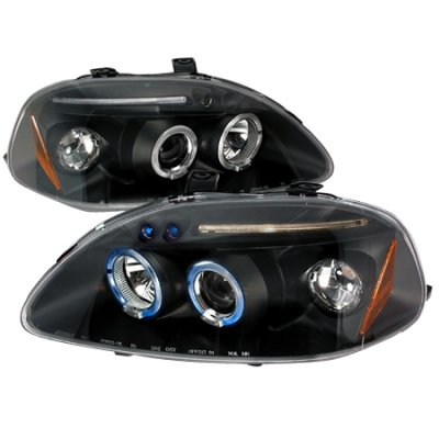 Honda Civic 1996-1998 JDM Black Dual Halo Projector Headlights with LED