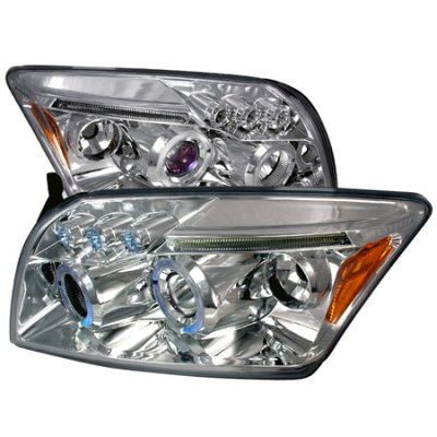 Dodge Caliber 2007-2010 Clear Halo Projector Headlights with LED