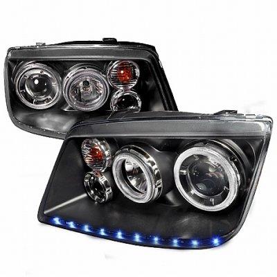 VW Jetta 1999-2004 Black Projector Headlights Halo LED DRL