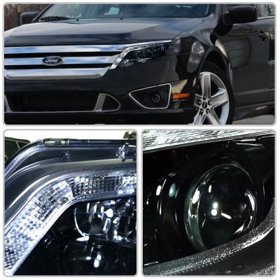 Ford Fusion 2010-2012 Smoked Projector Headlights LED DRL