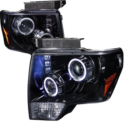 Ford F150 2009-2014 Smoked Halo Projector Headlights with LED