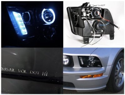 Ford Mustang 2005-2009 Smoked Halo Projector Headlights with LED
