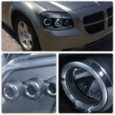 Dodge Magnum 2005-2007 Black Dual Halo Projector Headlights with LED