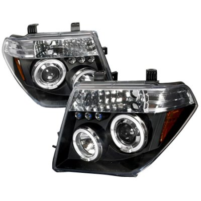Nissan Frontier 2005-2008 Black Dual Halo Projector Headlights with LED