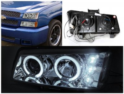 Chevy Silverado 2003-2006 Chrome Halo Projector Headlights with LED