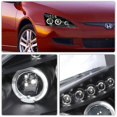 Honda Accord 2003-2007 Black Halo Projector Headlights with LED