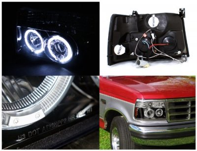 Ford F150 1992 1996 Smoked Halo Projector Headlights