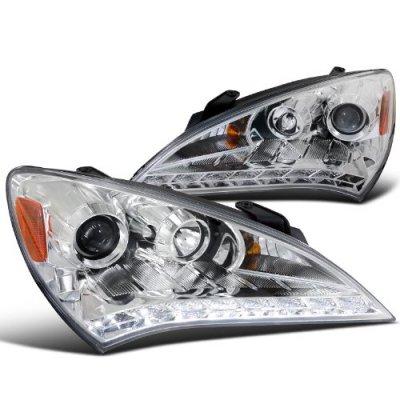 Hyundai Genesis 2010-2012 Chrome Projector Headlights LED DRL