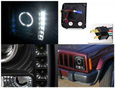 Jeep Cherokee 1997 2001 Black Halo Projector Headlights
