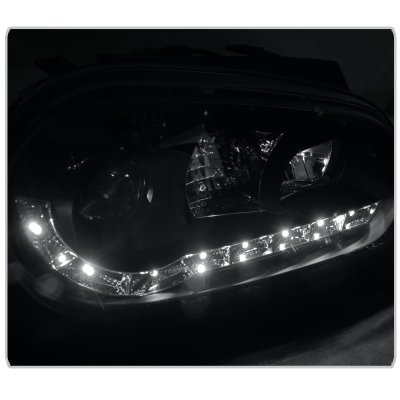 2000 VW Golf Black Projector Headlights with LED Daytime Running Lights