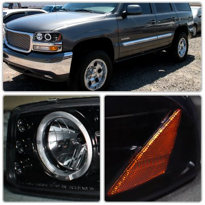 gmc sierra 2500hd 2001 2006 smoked projector headlights. Black Bedroom Furniture Sets. Home Design Ideas