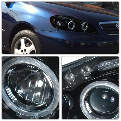 2007 Toyota Corolla Smoked Halo Projector Headlights with LED