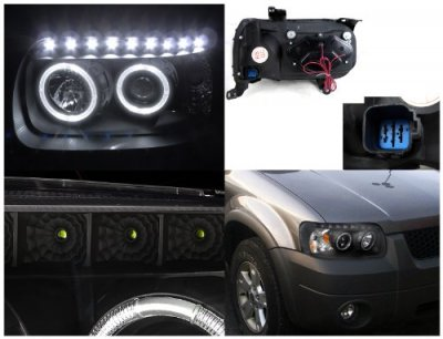Ford Escape 2005 2007 Black Projector Headlights Halo Led Drl