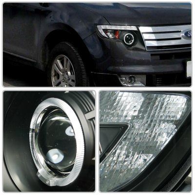 Ford Edge   Black Projector Headlights Halo Led Drl