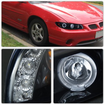 Pontiac Grand Prix 1997 2003 Smoked Halo Projector Headlights With Led