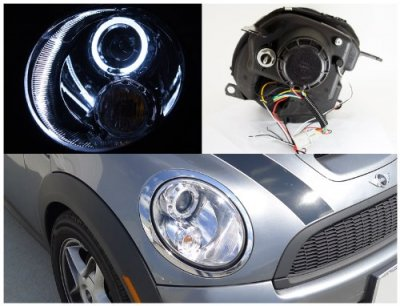 Mini Cooper 2007-2011 Clear Halo Projector Headlights