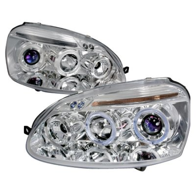 VW Rabbit 2006-2009 Clear Dual Halo Projector Headlights with LED