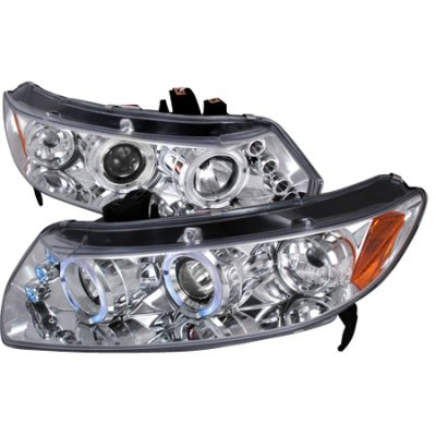 Honda Civic Coupe 2006-2011 Clear Dual Halo Projector Headlights with LED