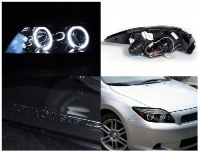 Scion tC 2005-2007 Smoked Halo Projector Headlights with LED