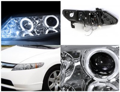 Honda Civic Sedan 2006-2011 Clear Dual Halo Projector Headlights with LED