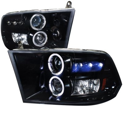 Dodge Ram 2009-2016 Black Smoked Halo Projector Headlights with LED