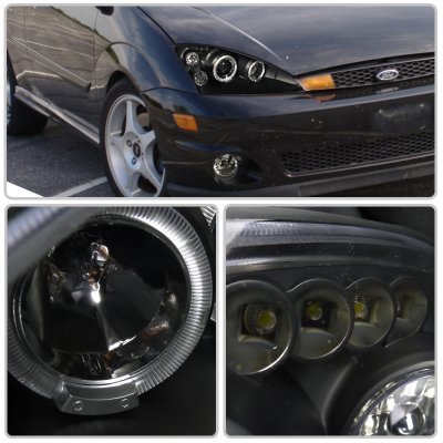 Ford Focus 2000-2004 Black Dual Halo Projector Headlights with LED