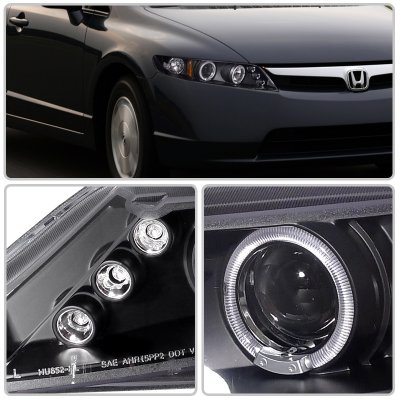 Honda Civic Sedan 2006-2011 JDM Black Dual Halo Projector Headlights with LED