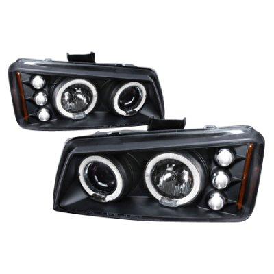 Chevy Silverado 2003-2006 Black Halo Projector Headlights with LED